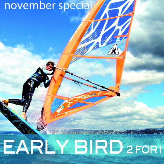 In november 2014 you will go windsurfing for half price only. Get 2 for 1!