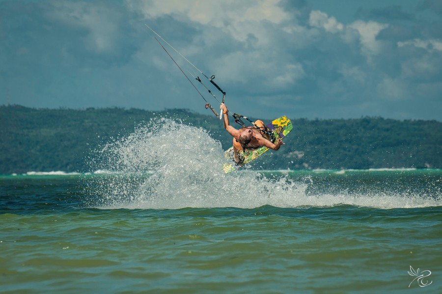 Kitesurfing on Boracay Island at Bulabog Beach.