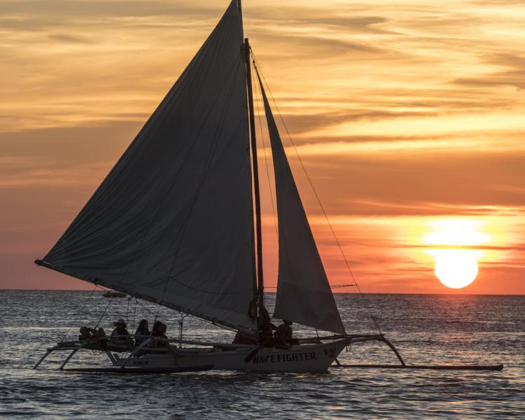 Sunset cruising with Red Pirates at White-Beach on-Boracay Island, Philippines.