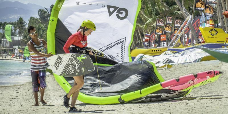 IKO-Kitesurfning classes with only 2 kite students at Funboard Center Boracay.