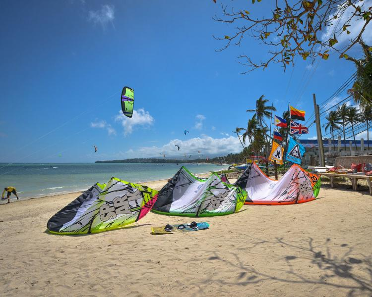 Kitesurfing at Funbaord Center Boracay located on Bulabog Beach Philippines.