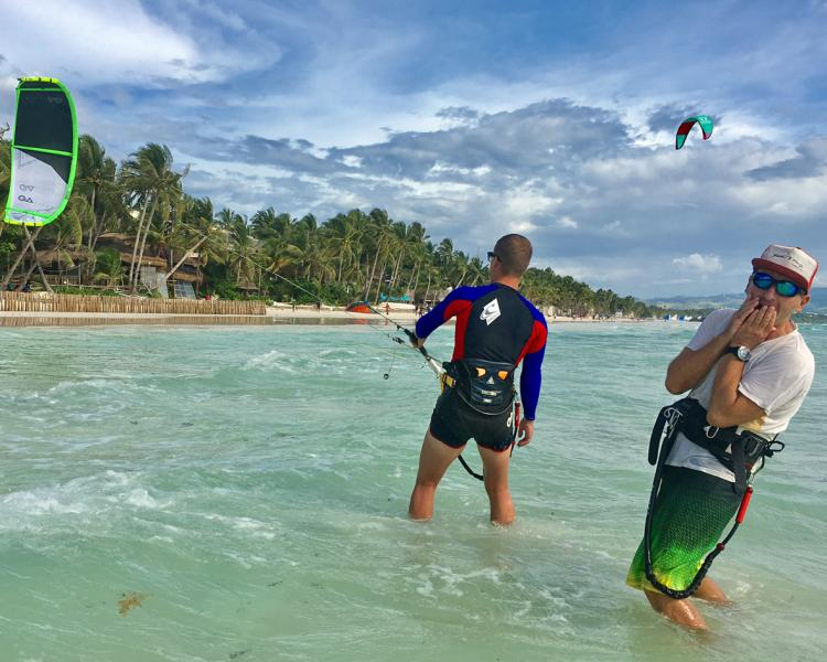 Kitesurfing lessons at Funboard Center Boracay at Bulabog Beach on the Philippines.