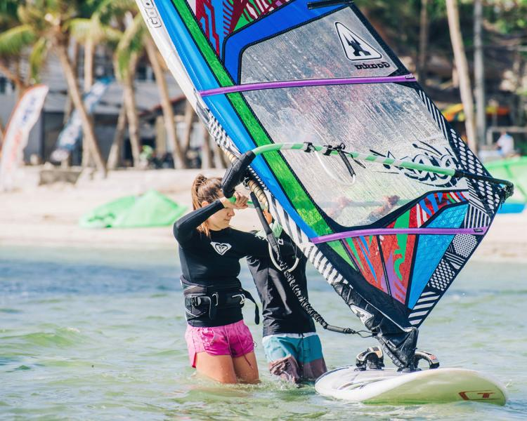 Windsurfing lessons during the Yoga Camp at Funboard Center Boracay on Bulabog Beach