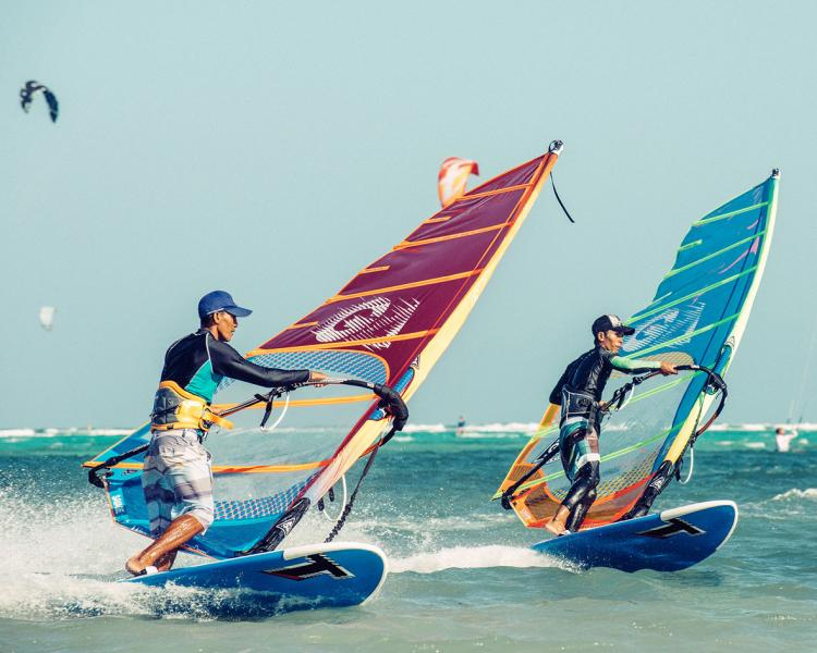 Windsurfing lessons on Boracay Philippines with Gaastra sails and Tabou Boards.