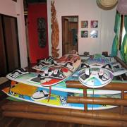 Funboard Center Boracay evacuates all kite and windsurf equipment to the second level.