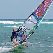 Windsurfing student Markus stays his first Duck jibe.